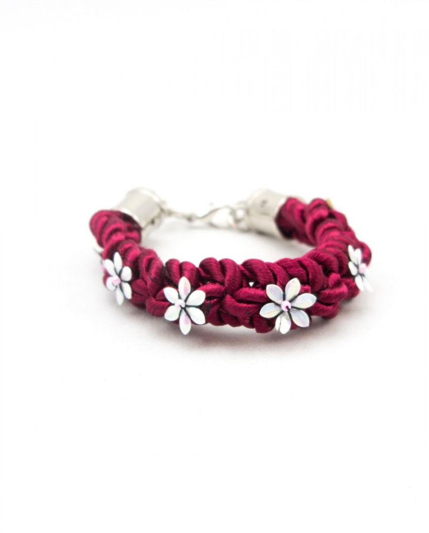 Pulsera Floral Burdeos